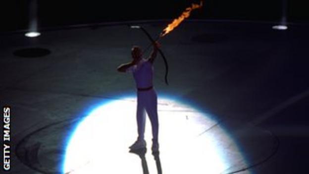 The Barcelona Olympics opening ceremony - Antonio Rebollo is set to light the cauldron