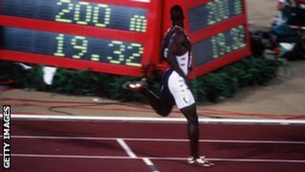 Michael Johnson wins the 200m at the Atlanta Olympics