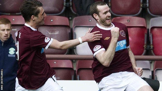Skacel and Beattie celebrate one of the latter's goals for Hearts