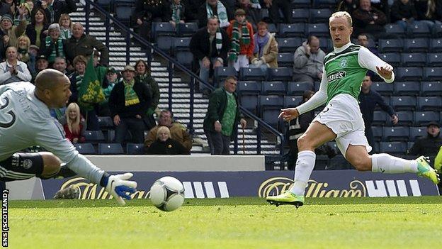 Leigh Griffiths scores for Hibernian against Aberdeen