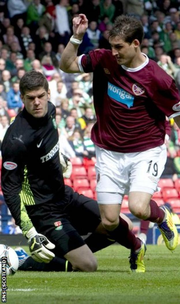 Skacel rounds Forster to open the scoring for Hearts