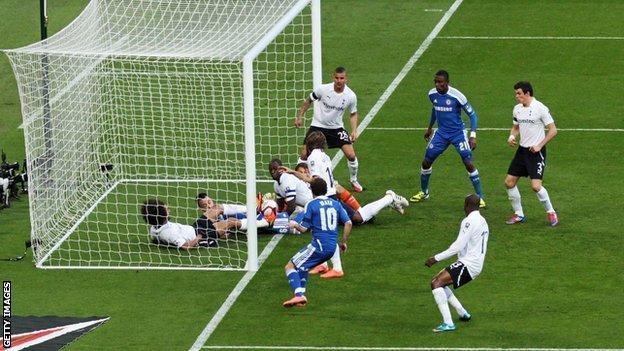 Juan Mata's disputed goal for Chelsea against Tottenham