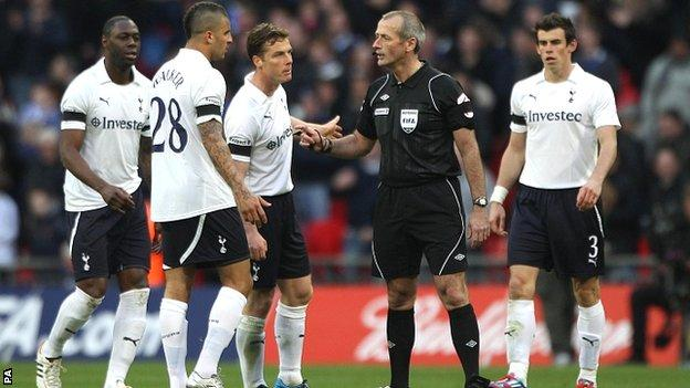 Spurs were on the receiving end of a debatable decision by referee Martin Atkinson in the FA Cup semi-final