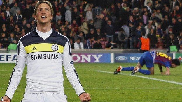 Fernando Torres celebrates scoring against Barcelona in the Champions League