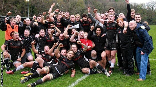 Cross Keys celebrate following their win over the Cornish Pirates