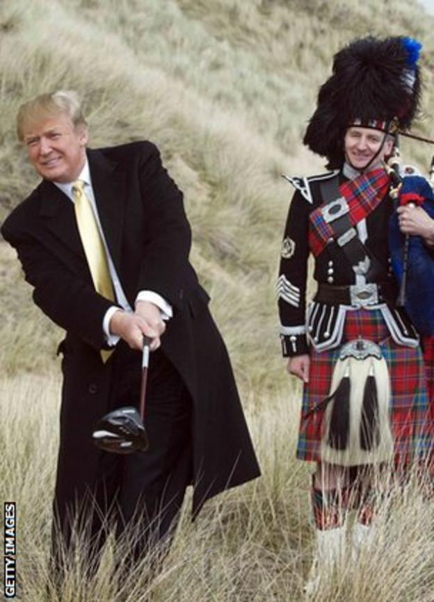 Donald Trump and piper on his new course at the Menie Estate