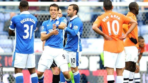 Wigan celebrate Franco di Santo's goal against Newcastle