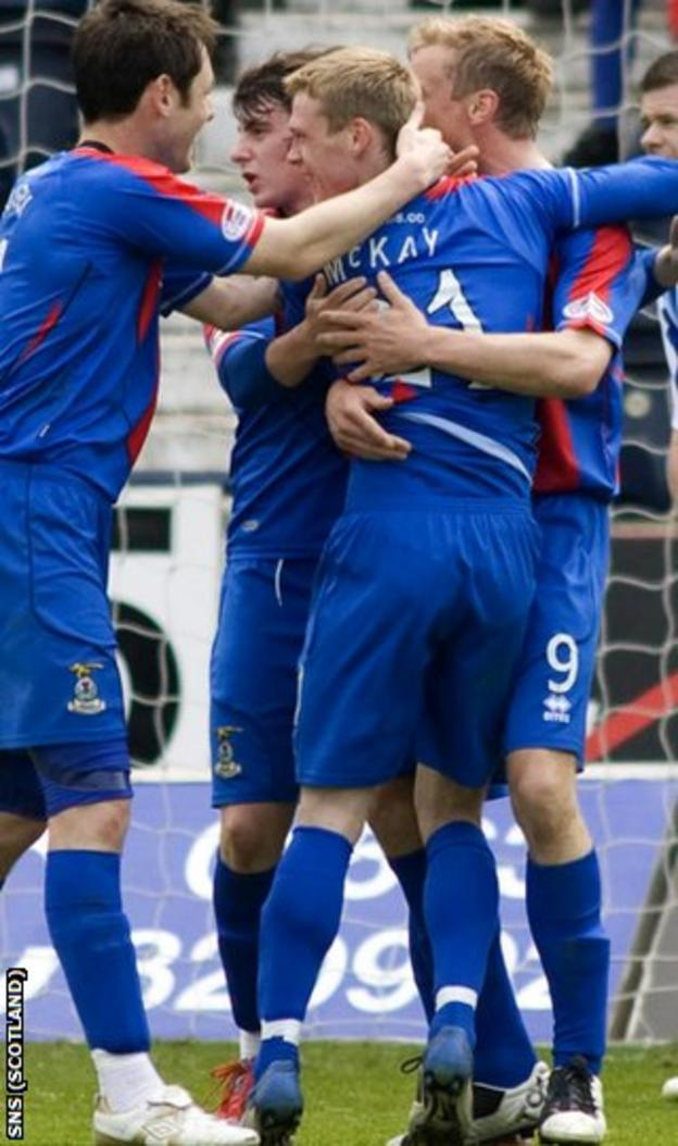 McKay celebrates after scoring his second goal at Rugby Park