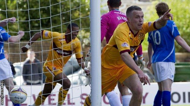 Nicky Law celebrates after scoring for Motherwell against St Johnstone