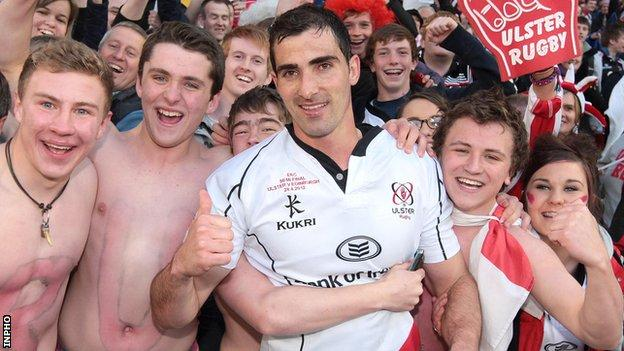 Ruan Pienaar celebrates with Ulster fans after Saturday's semi-final