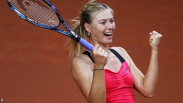 Maria Sharapova beat Victoria Azarenka in Germany