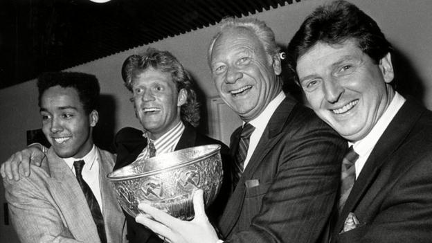 Martin Dahlin, Hakan Lindman, Hans Cavalli-Bjorkman and Roy Hodgson