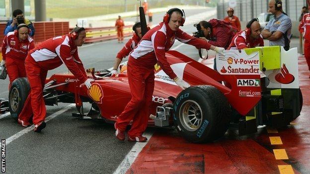 Fernando Alonso in pits at Mugello