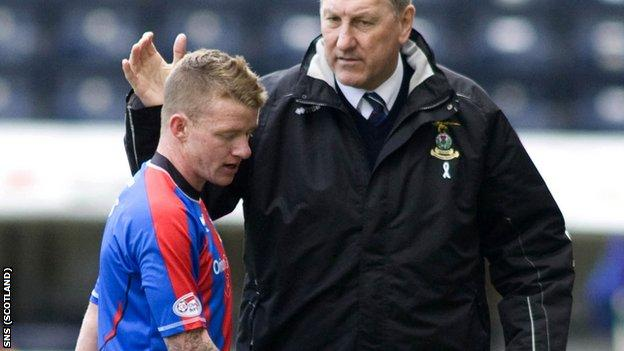 Hayes is consoled by Butcher after being sent off against Kilmarnock