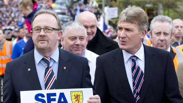 Jardine (right) led thousands of fans in protest on Saturday