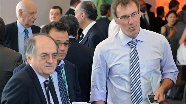 Federation Francaise de Football (FFF) chairman Noel Le Graet (left) and Laurent Blanc