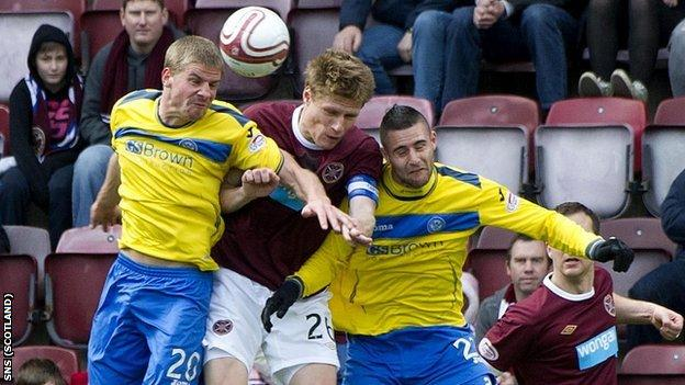St Johnstone and Hearts players battle for possession