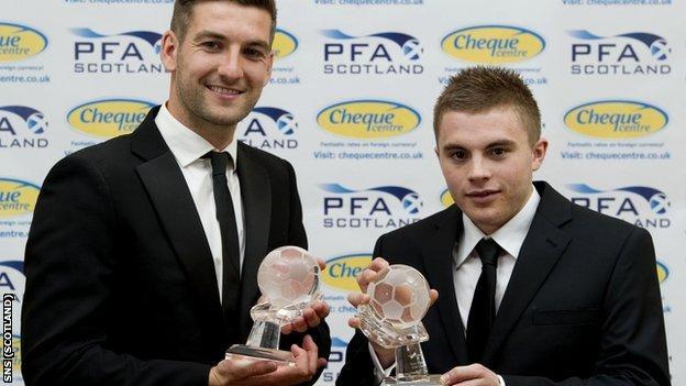 Celtic defender Charlie Mulgrew and team-mate James Forrest