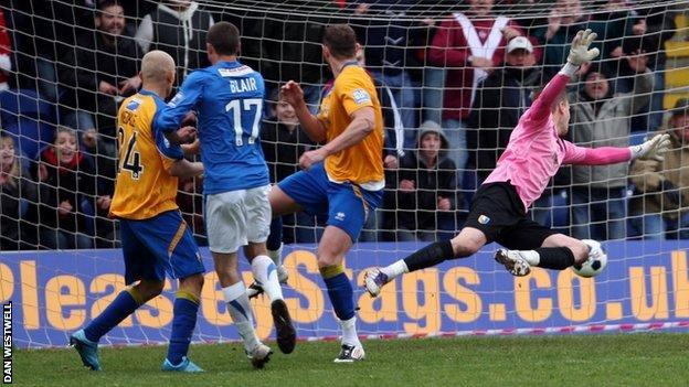Matty Blair's winning header at Field Mill