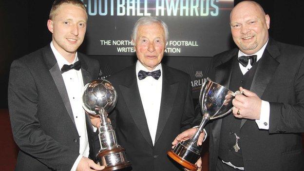 Chris Morrow, Jimmy McIlroy and David Jeffrey at the awards ceremony
