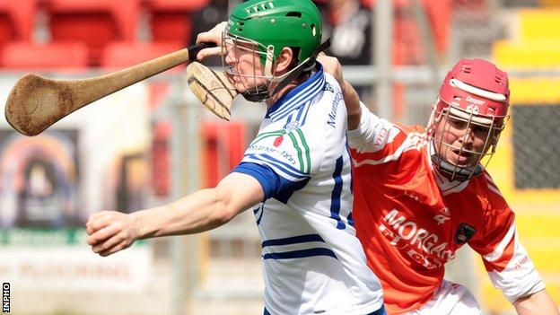 Monaghan's Ronan Meehan battles with Armagh's Fintan Woods in last year's Ulster Hurling Championship