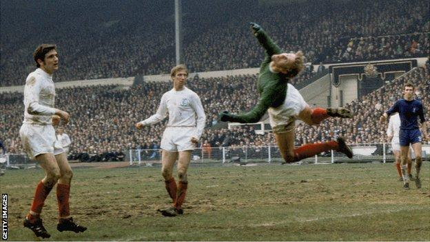 Goalkeeper Gary Sprake in action for Leeds United during their white-shirted heyday