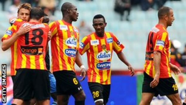 Players from Tunisia's Esperance celebrating