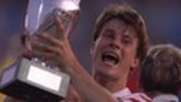 Laudrup lifts the trophy for Denmark