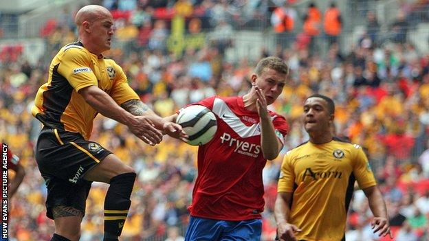 David Pipe (left) in action during Newport's FA Trophy final defeat against York City