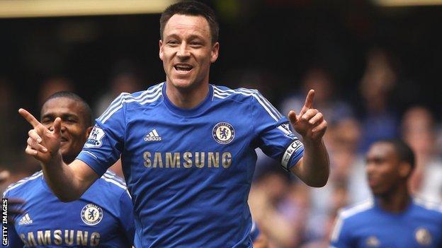 John Terry celebrates Chelsea's first goal against Blackburn Rovers