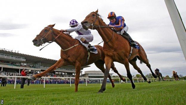 Light Heavy (left) wins the Derrinstown Stud Derby Trial at Leopardstown