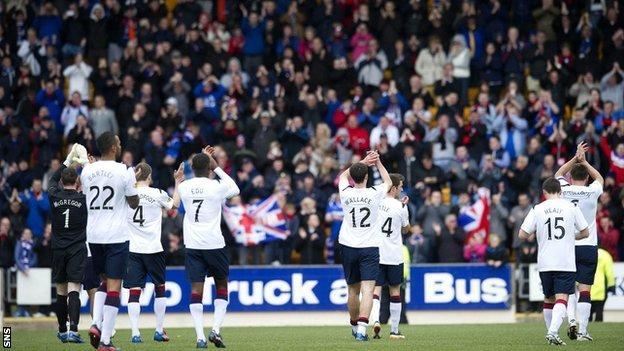 Rangers players wave to their fans