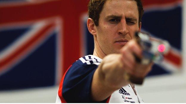 Nick Woodbridge shows his shooting skills in practice