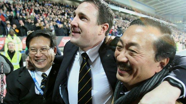 Cardiff chairman Dato Chan Tien Ghee, manager Malky Mackay and investor Vincent Tan