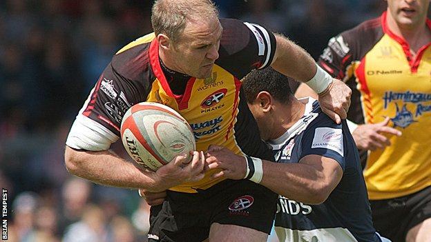 Pirates' Ceiron Thomas playing against Bristol