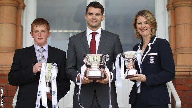 Callum Rigby, James Anderson and Charlotte Edwards