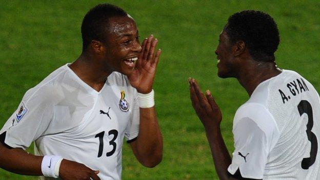 Dede Ayew and Asamoah Gyan of Ghana