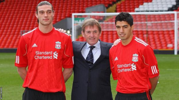 Dalglish signs Andy Carroll (left) and Luis Suarez (right)