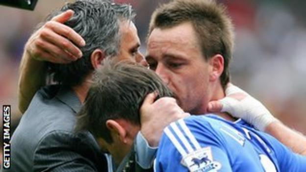 Jose Mourinho, Frank Lampard and John Terry