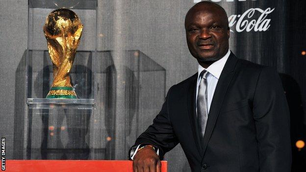 Cameroon's Roger Milla alongside the World Cup
