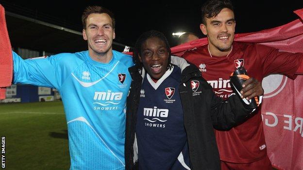 Cheltenham Town players celebrate