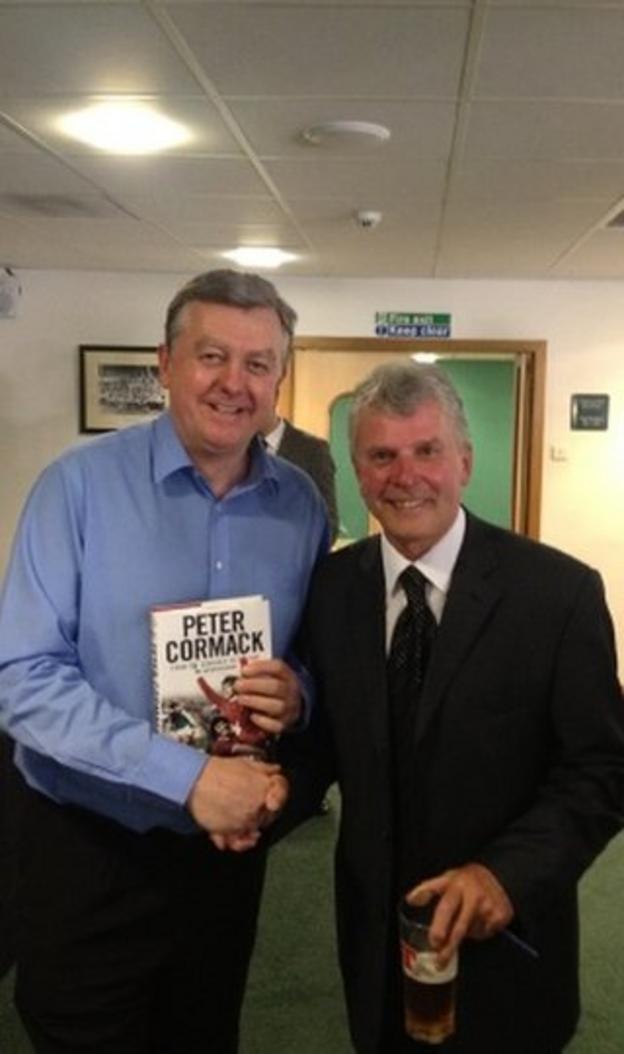 Bob met Hibs legend Lawrie Reilly at Peter Cormack's book launch