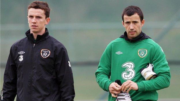 Kevin Foley and Keith Fahey at Republic of Ireland training on Thursday