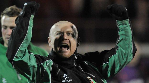Tim McCann celebrates after Glentoran's win over Linfield last December