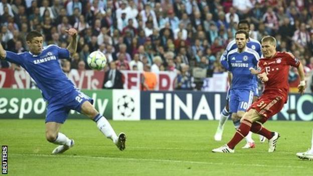 Bastian Schweinsteiger of Bayern Munich takes a shot