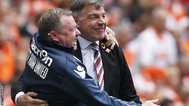 West Ham manager Sam Allardyce (right)