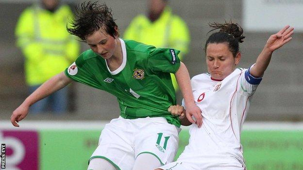 Northern Ireland's Kirsty McGuinness scores two goals against Bulgaria