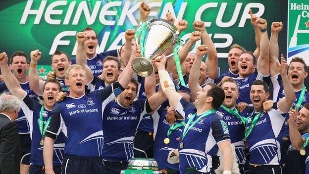 Leinster players celebrate after winning the Heineken Cup