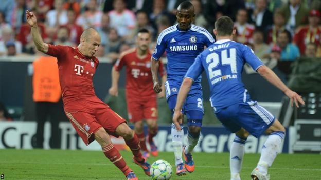 Arjen Robben has a shot on goal