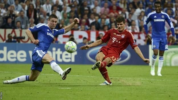 Mario Gomez shoots for Bayern